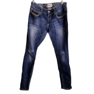 Ariat Skinny Distressed Embroidered Jeans 31R